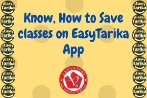 Save Classes on EasyTarika
